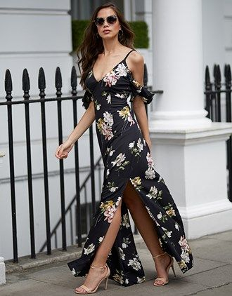 8973371ac03 Lipsy Floral Print Ruffle Cold Shoulder Maxi Dress