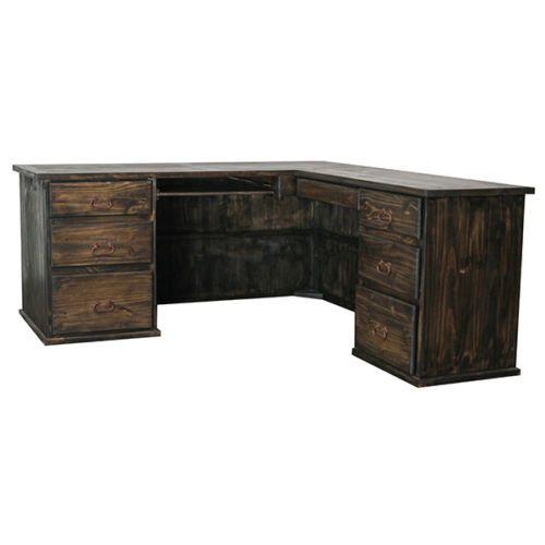 Rustic Dark Walnut L Shaped Desk Executive Western Solid Wood Free Ship L Shaped Desk Desk Cabins In The Woods Solid wood l shaped desks