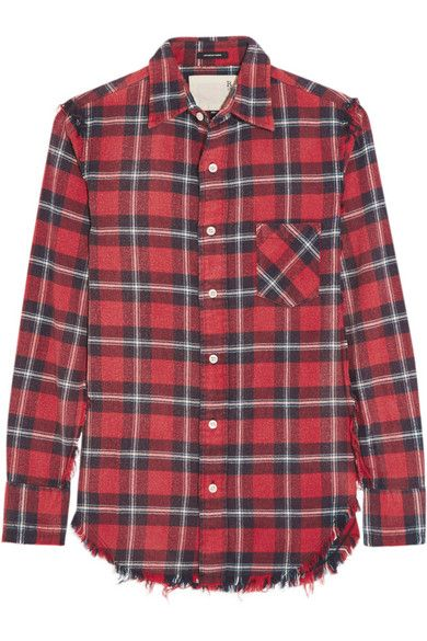 Tomato-red, navy and white cotton-flannel Button fastenings through front 100% cotton Machine wash