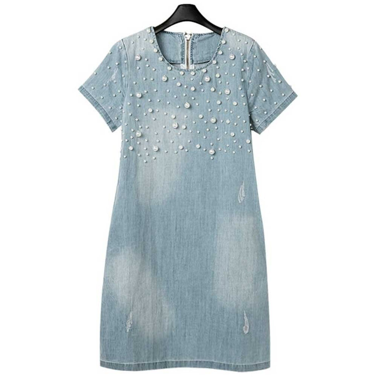 Women\'s Plus-size Fashion Denim Dress with Pearl >>> See this ...