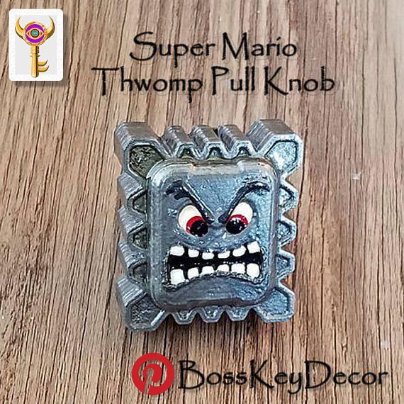Thwomp Super Mario Pull Knob Super Mario Decor Nintendo Home Decor    Cabinet Knobs U0026 Drawer
