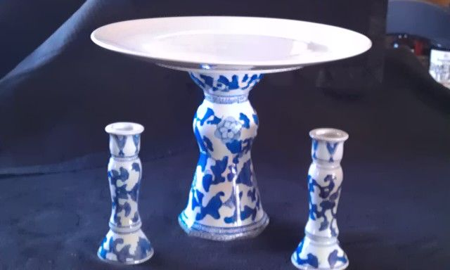 Cornel blue candle holder made into a cake plate by fiveseasonsmade4u