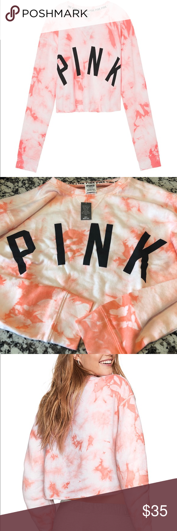 Victoria S Secret Pink Tie Die Cropped Sweatshirt Pink Ties Crop Sweatshirt Tie Dye Sweatshirt [ 1740 x 580 Pixel ]