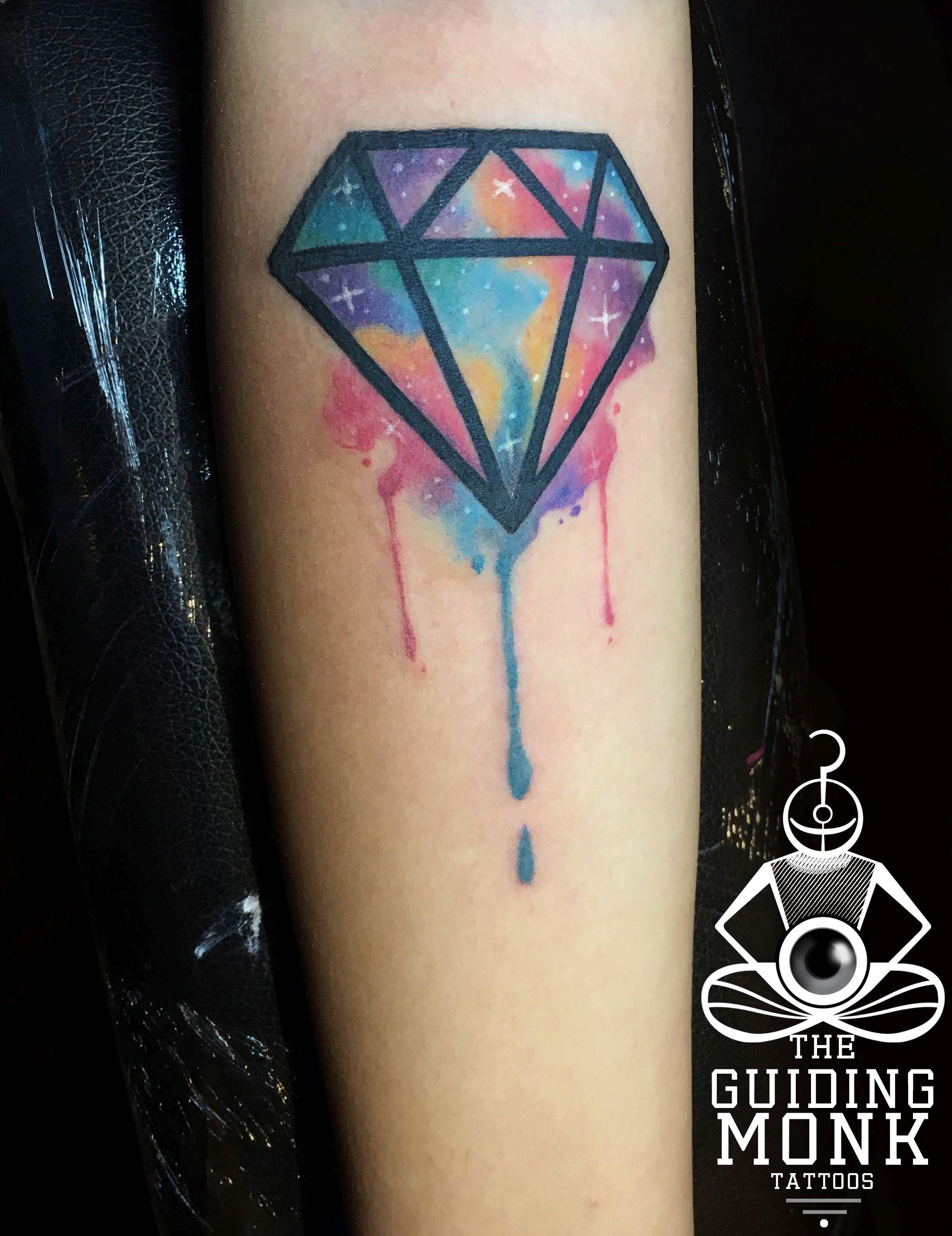 Cosmic Watercolor Diamond Tattoo Diamond Tattoo Designs Diamond Tattoos Henna Tattoo Designs Simple