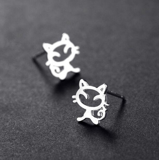 스털링 실버 고양이 스터드 귀걸이 웨딩 럭셔리 패션 보석 여성 사랑스러운 작은 귀여운 레이디 925 실버 귀걸이 약혼