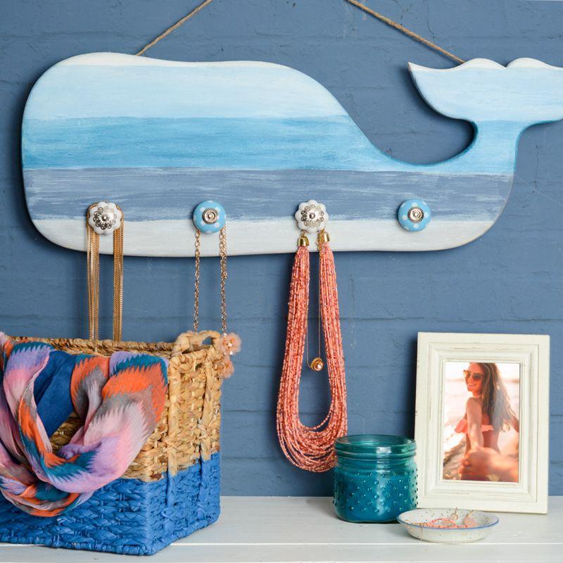 12 Nautical Decor Ideas: Nautical Wooden Whale Organizer