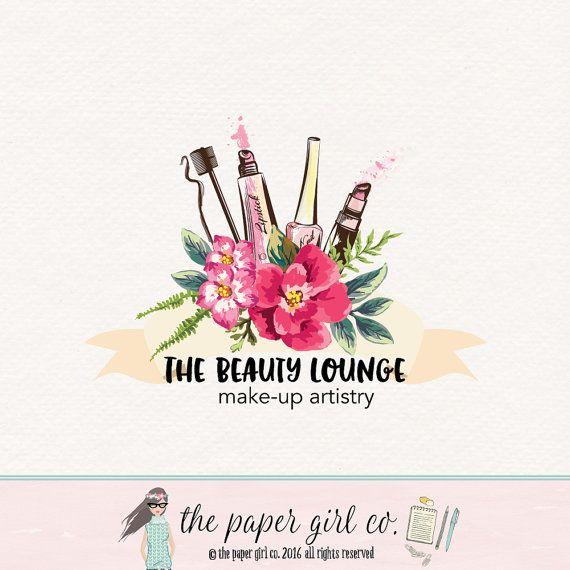 Make Up Logo Beauty Lipstick Nail Polish Mascara Premade Makeup Artist Lash Design Flower