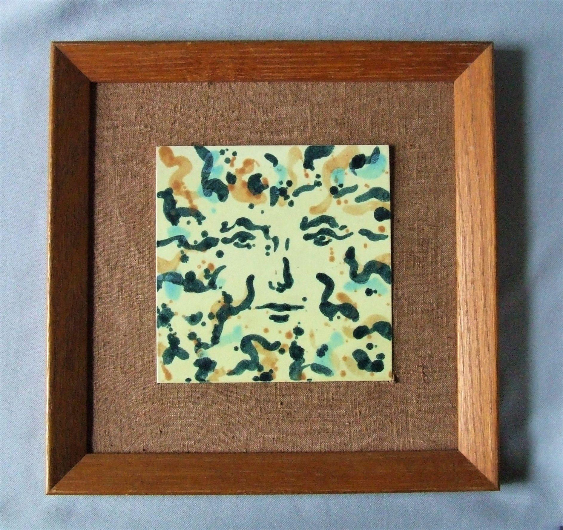 Early Harris Strong Ceramic Tile Hidden Face Framed In Blonde Oak