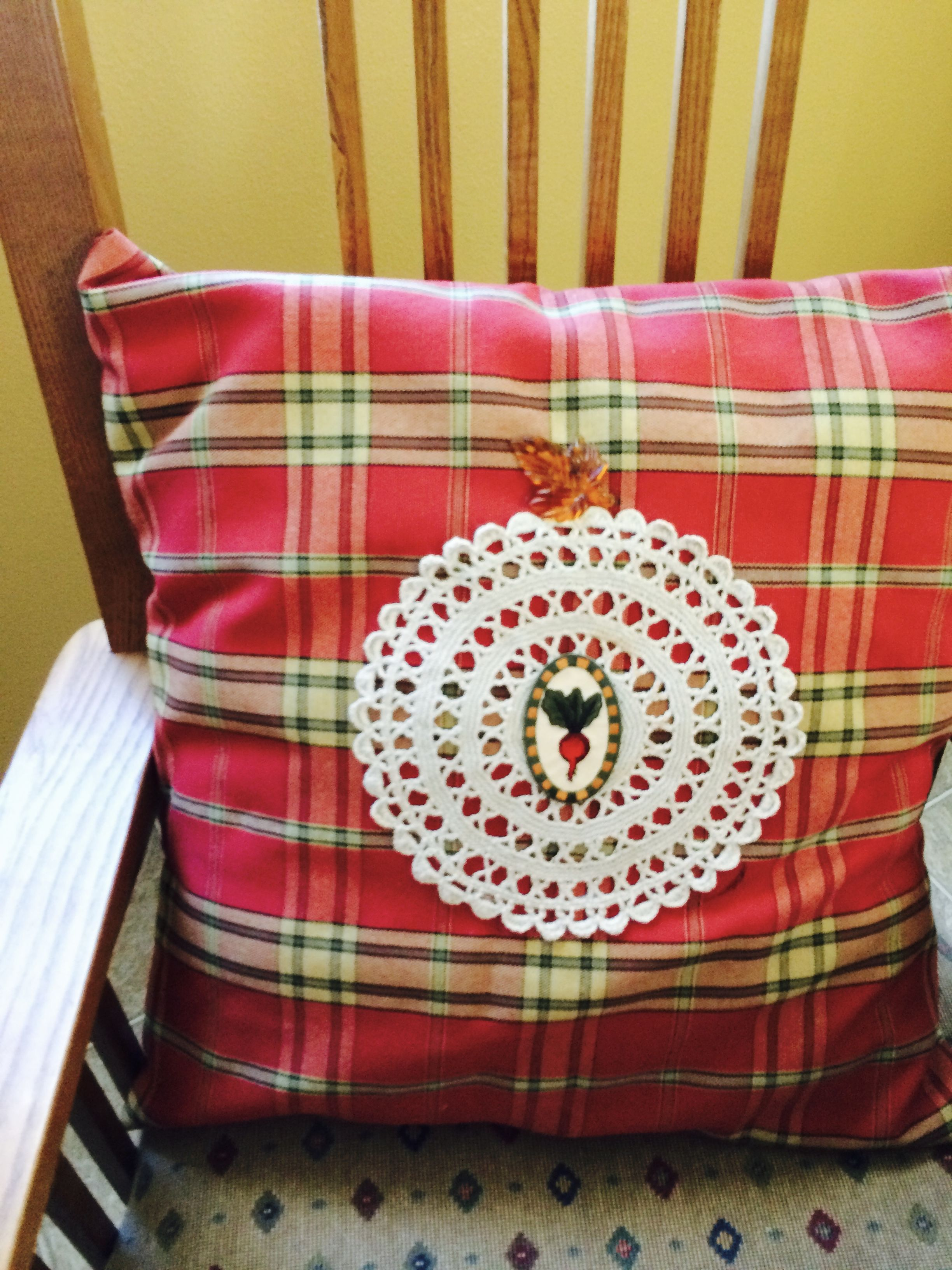 Nd dining chair pillow from table cloth with doily and a radish