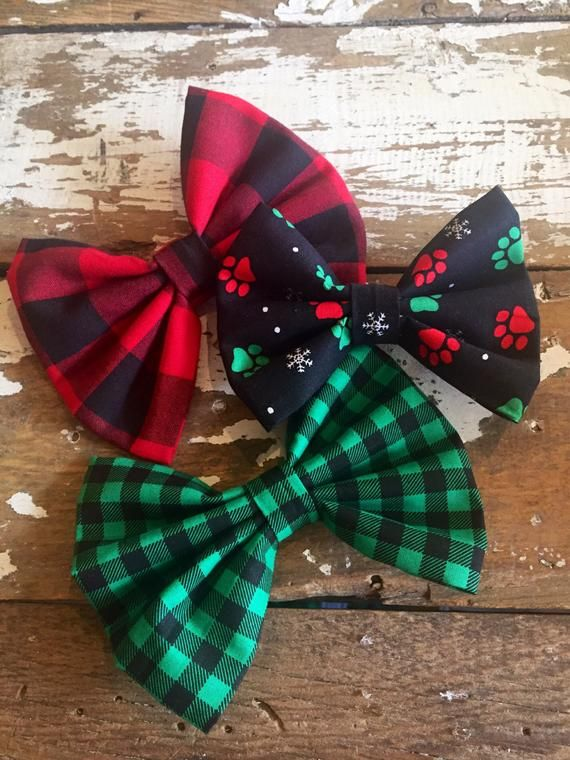 76dff4a6 Dog Bow Ties, Red Buffalo Plaid, Green and Black Plaid, Christmas ...