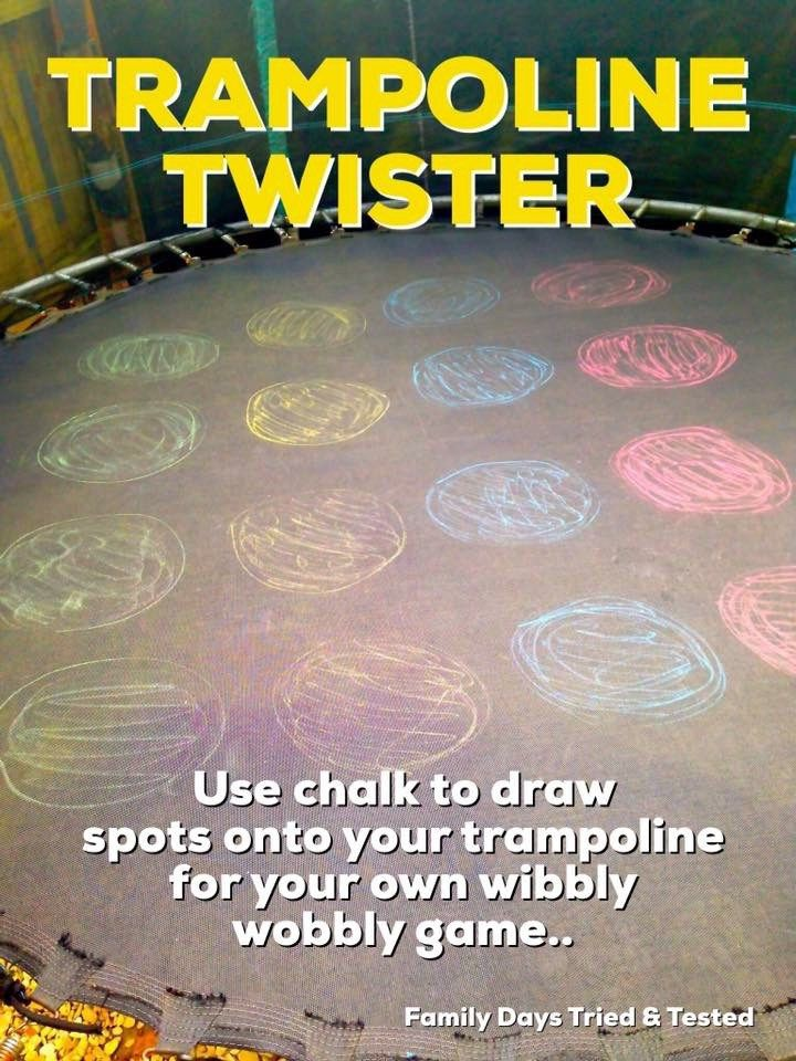 Trampoline Twister - a fun summer game for kids. Plus lots more ideas for bouncy fun!