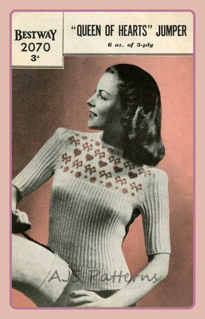 PDF Knitting Pattern for a 1940'S Ladies Queen by TheKnittingSheep