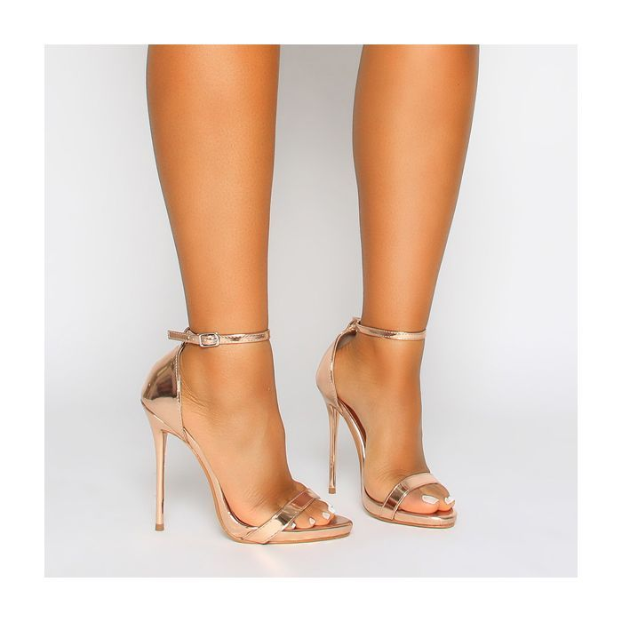7d8aae2283a Selma Rose Gold Barely There Stiletto Heels | Shoe Game | Heels ...