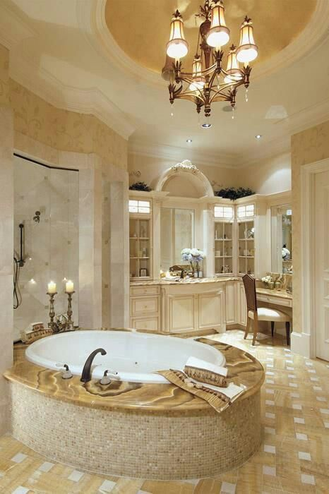 I love the oval raised ceiling with chandelier | bathroom ideas ...