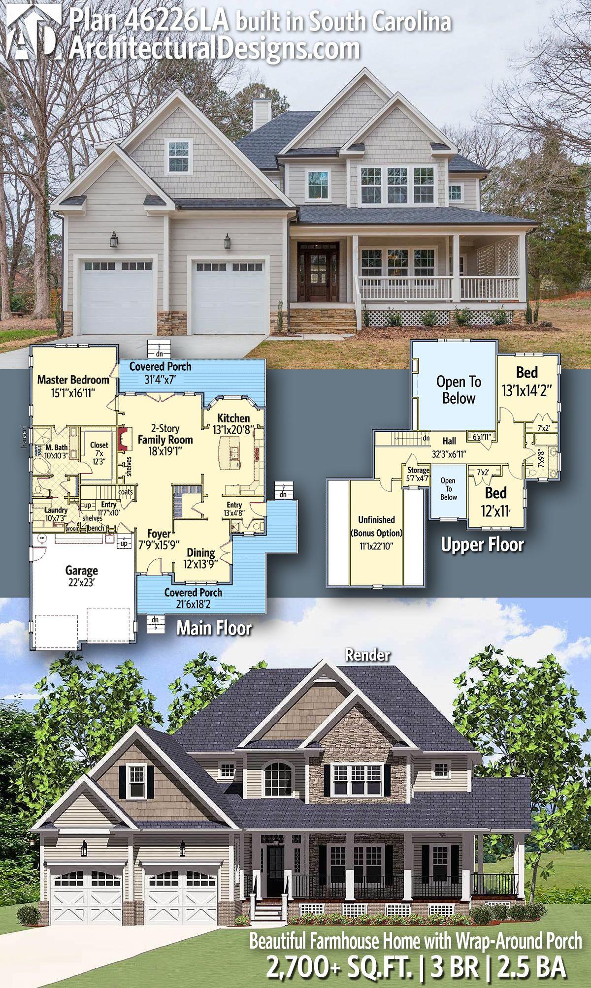 Plan 46226la Beautiful Farmhouse Home With Wrap Around Porch Architectural Design House Plans House Plans Dream House Plans