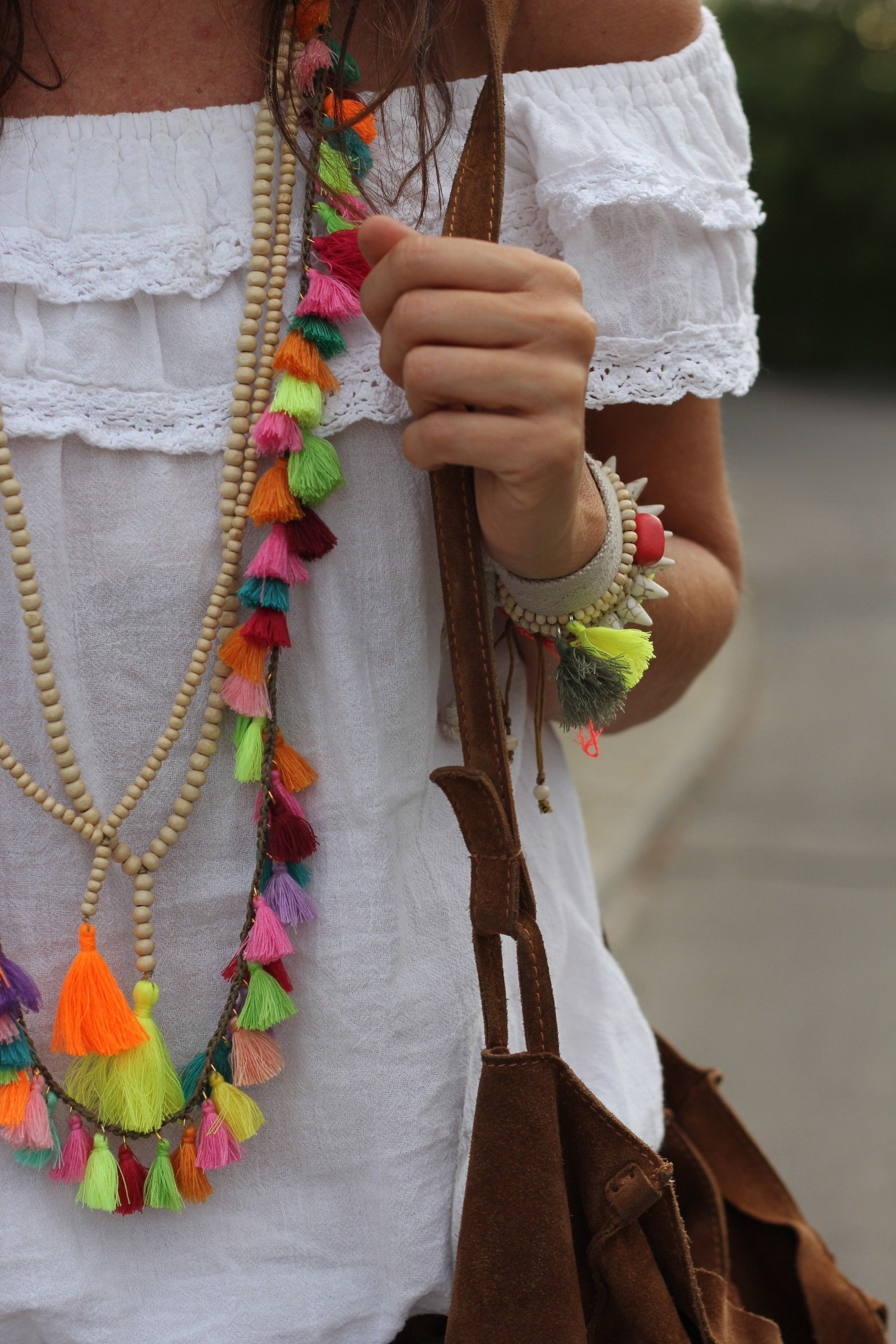 Bright multicolor tassel necklace. Boho necklace. Boho street style. women's fashion and style. jewelry.