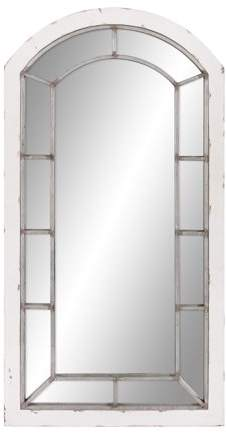 Distressed White And Antique Silver Arch Windowpane Wall Mirror 24 X44 By Patton Wall Decor Walmart Com Wall Mounted Mirror Distressed White Farmhouse Style Living Room Decor