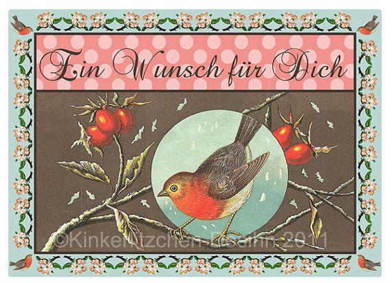 Grußkarte Ein Wunsch für Dich Postkarte von KinkerlitzchenShop, €2.20