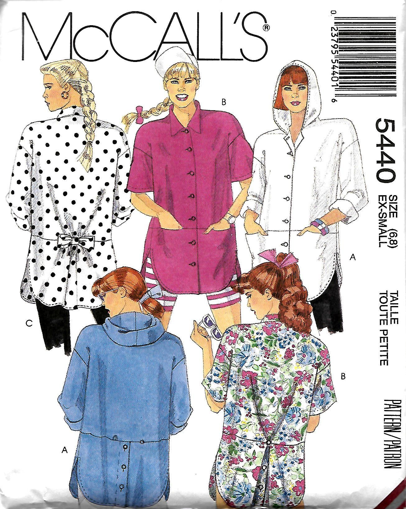 842e6a84 McCall's 5440 Misses Oversized Shirts Sewing Pattern, Size 6-8, UNCUT by  DawnsDesignBoutique on Etsy