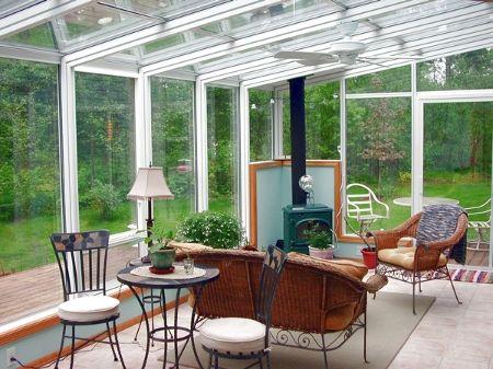 Solarium With Wood Burning Stove Sunroom Designs Indoor Garden Rooms Patio Room