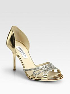 Jimmy Choo - Mocha Glitter & Metallic Leather Sandals