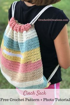 Cinch Sack Drawstring Backpack Crochet Pattern by #backpacks