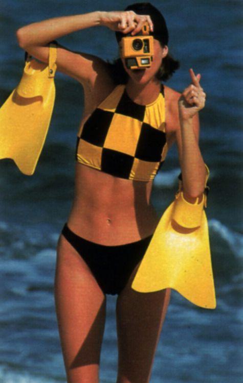 Peggy Sirota for Seventeen magazine, June 1987. Bikini by Dunk-Its.