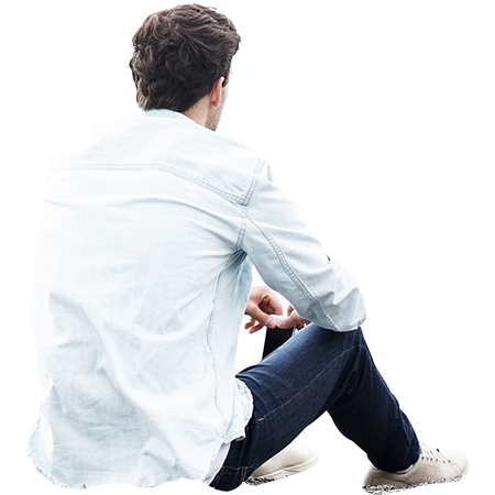 Man Sitting On The Ground And Holding His Cell Phone In A Forlorn Introspective Manner People Cutout People Png Silhouette People