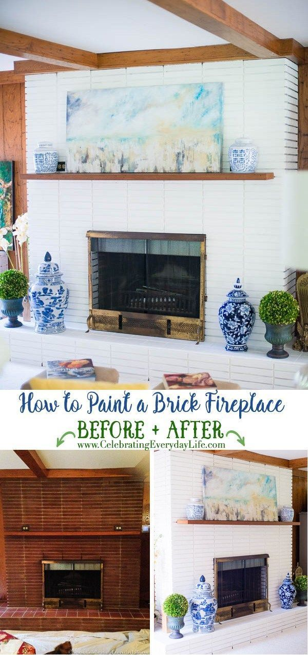 How to Paint A Brick Fireplace #whitebrickfireplace How to Paint a Fireplace Before and After, Blue and White Home Decor, White Painted Brick Fireplace, DIY Paint Brick Fireplace, Benjamin Moore Painted Fireplace, Chinoiserie Fireplace, Chinoiserie Living Room Decor, Blue and White Decorating, Celebrating Everyday Life with Jennifer Carroll #whitebrickfireplace How to Paint A Brick Fireplace #whitebrickfireplace How to Paint a Fireplace Before and After, Blue and White Home Decor, White Painted #whitebrickfireplace