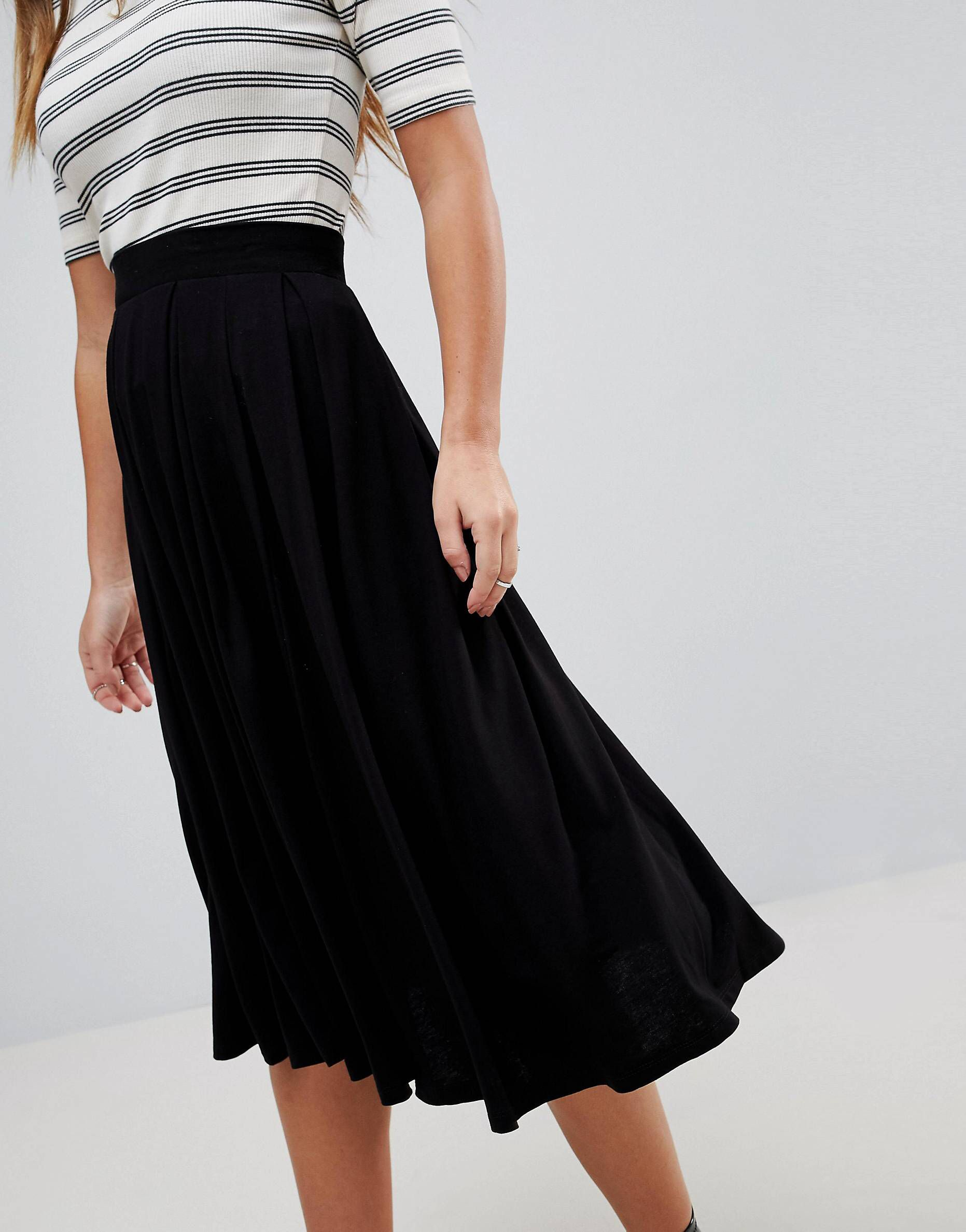 5c870244305f Asos Design Petite Midi Skirt With Box Pleats