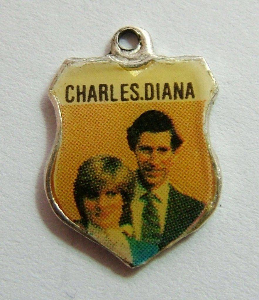 1980's Silver & Enamel Shield Charm for CHARLES & DIANA
