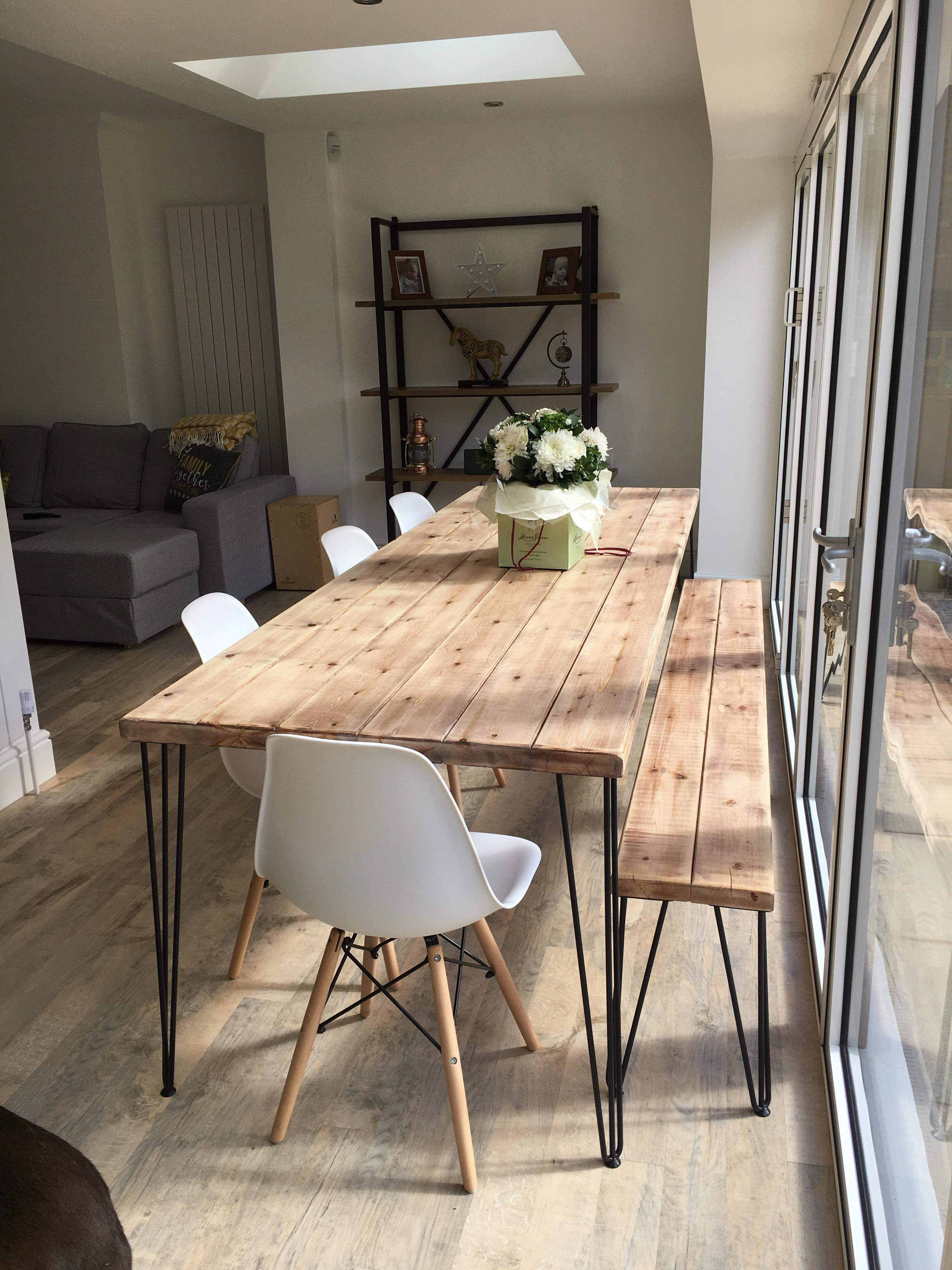 Rustic Industrial Hairpin Dining Table And Bench Finished In