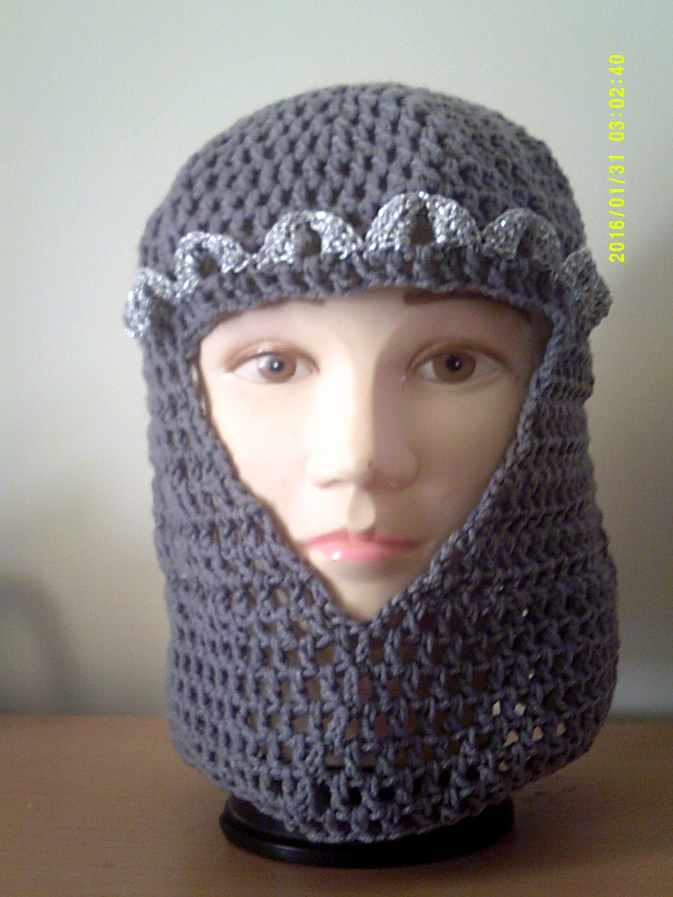 Crochet chainmail knight helmet adult size larp headgear by crochet chainmail knight helmet adult size larp headgear by knightwhosaidknit on etsy bankloansurffo Image collections