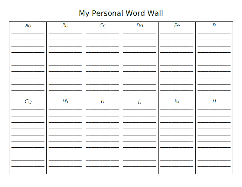 My Personal Word Wall Pdf Google Drive Personal Word Wall Word Wall Kindergarten First Grade Words