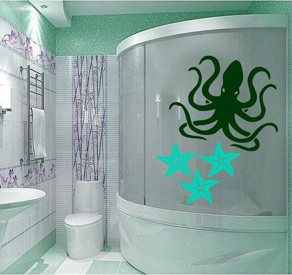 Octopus Wall Decal Sea Animal Vinyl Stickers Sea Star Art Mural Home Interior Living Room Decals For Bathroom Spa Salon Nautical Decor Black