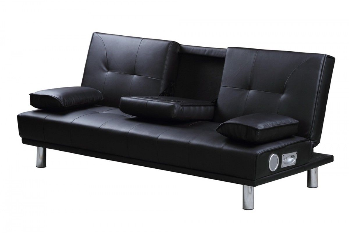 manhattan built in bluetooth speakers black faux leather sofa bed