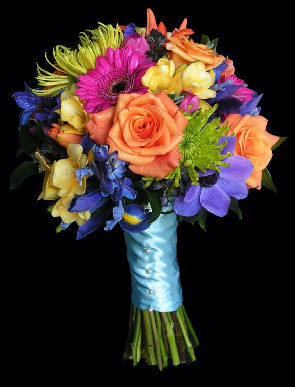 Wedding flowers purple orange pink yellow orange pink for Pink and blue flower arrangements