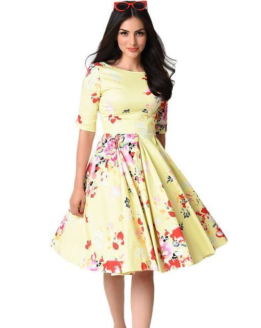 Autumn Vintage Plus Size Dress Women Floral Dress Round Neck Half Sleeve  High Waist Back Zip Pleated Party Dresses 94611964d