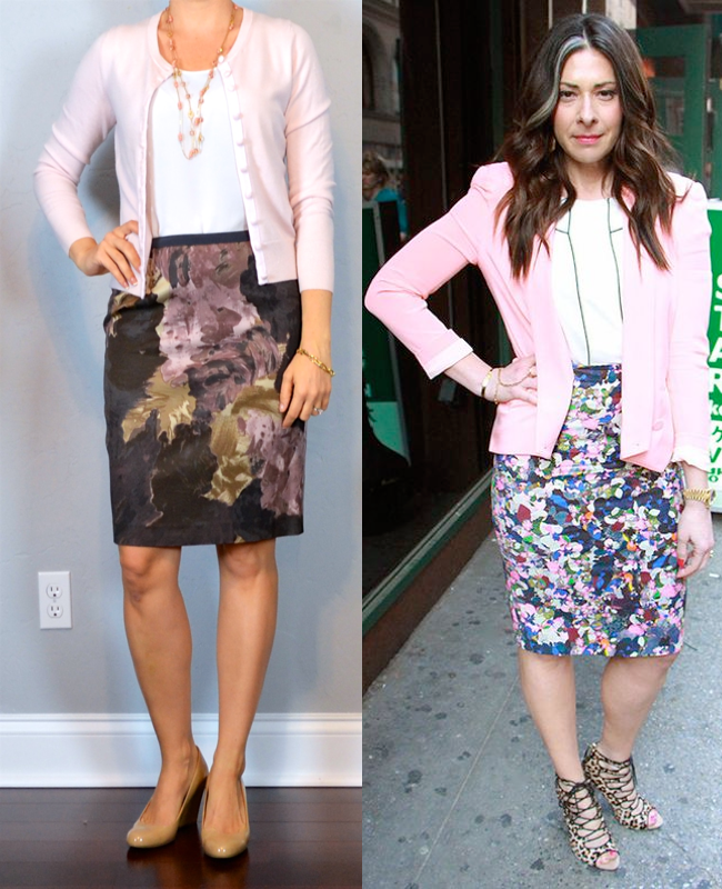 outfit post: floral pencil skirt, white shell, light pink cardigan ...