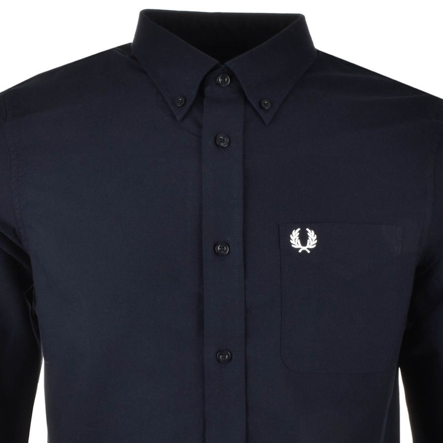 Fred Perry Long Sleeved Classic Oxford Shirt In Navy A Full Front