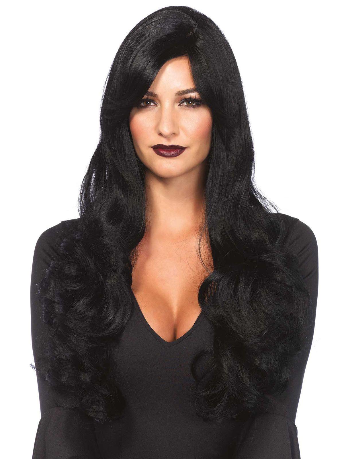 gothic langhaar per cke locken schwarz pinterest halloween per cken lange schwarze haare. Black Bedroom Furniture Sets. Home Design Ideas