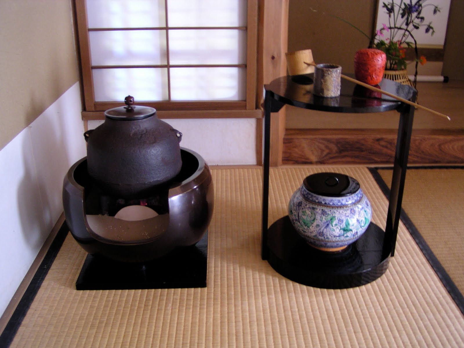 Japanese tea ceremony set up