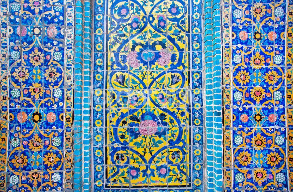 Blue Color Patterned Dome With Tiles Of Ancient Persian Mosque Stock Photo Fotoarabia Ancient Tiles Ancient Persian Wall Patterns