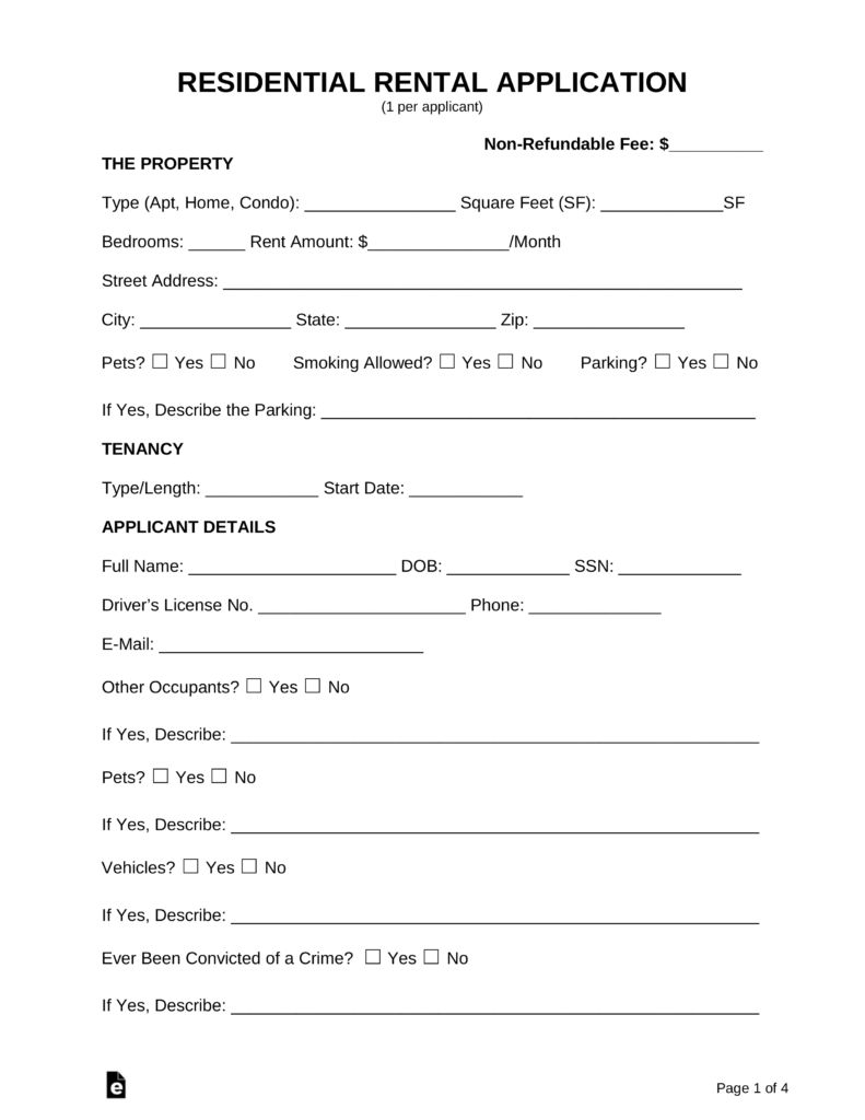 Free Rental Application Form Pdf Word Eforms Free Fillable Forms Rental Application Application Form Rental