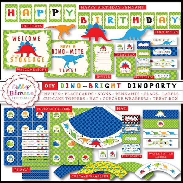 DinoBright Party Birthday party printables for the Dino fan in