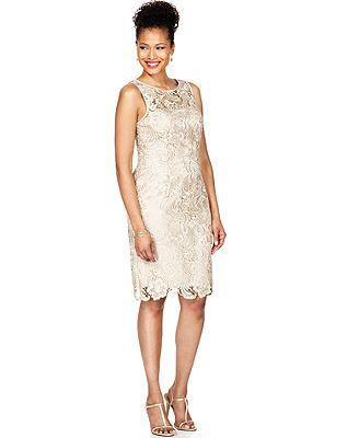 Adrianna Papell Petite Dress, Sleeveless Lace Sheath- Macys
