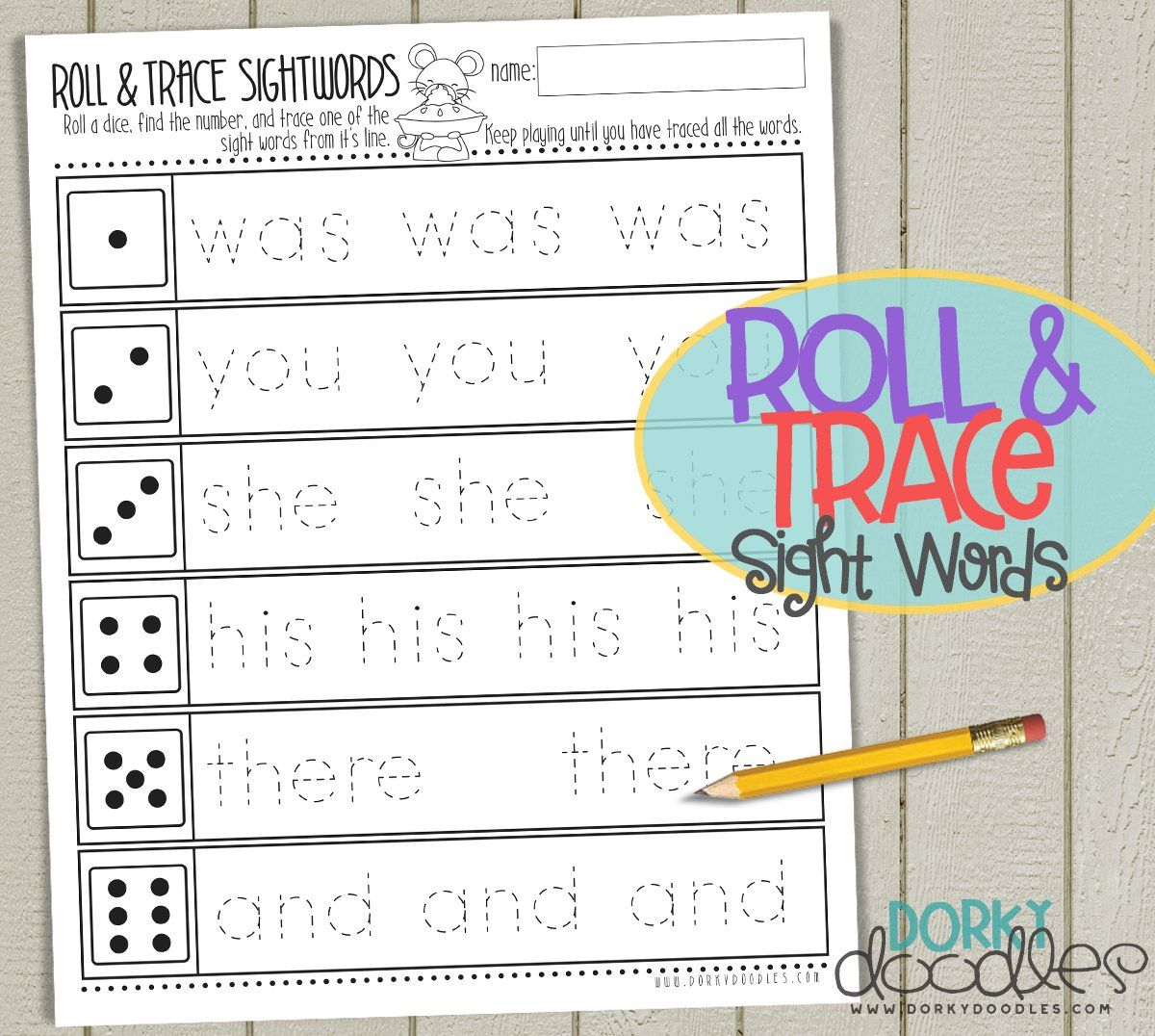 Roll And Trace Sight Words With Thanksgiving Mouse