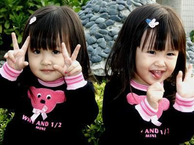 Cute baby girl twins