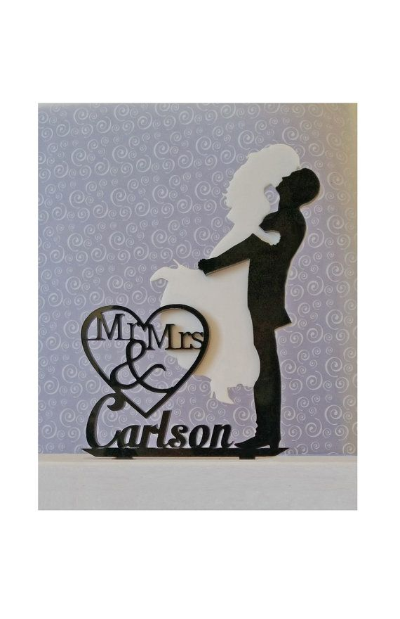 Custom Wedding Cake Topper Silhouette Black and by TrueloveAffair