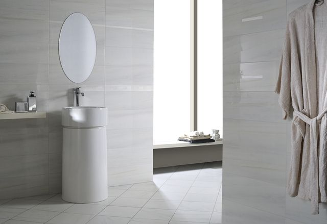 Entzuckend Bad Fliesen Designs Weiss Grau Keramik Freistehendes Waschbecken Rund